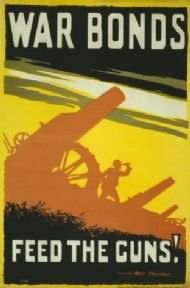 Vintage WW1 Poster. War bonds. Feed the guns.